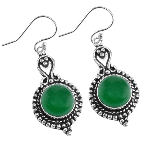Green Onyx Silver Earring PG-156628