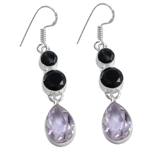 Black Onyx & Rose Quartz Earring PG-156629