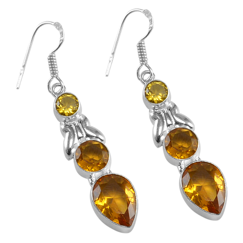 Yellow Quartz Silver Earring PG-156630