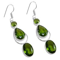 Green Quartz Silver Earring PG-156633