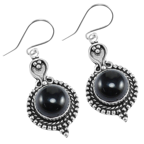 Black Onyx Gemstone Silver Earring PG-156634
