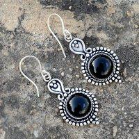 Black Onyx Gemstone Silver Earring PG-156634
