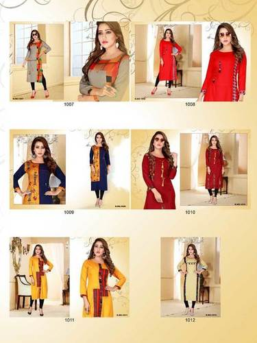 Baby Style Navya Fashion Rayon Print Plain Kurti Catalog