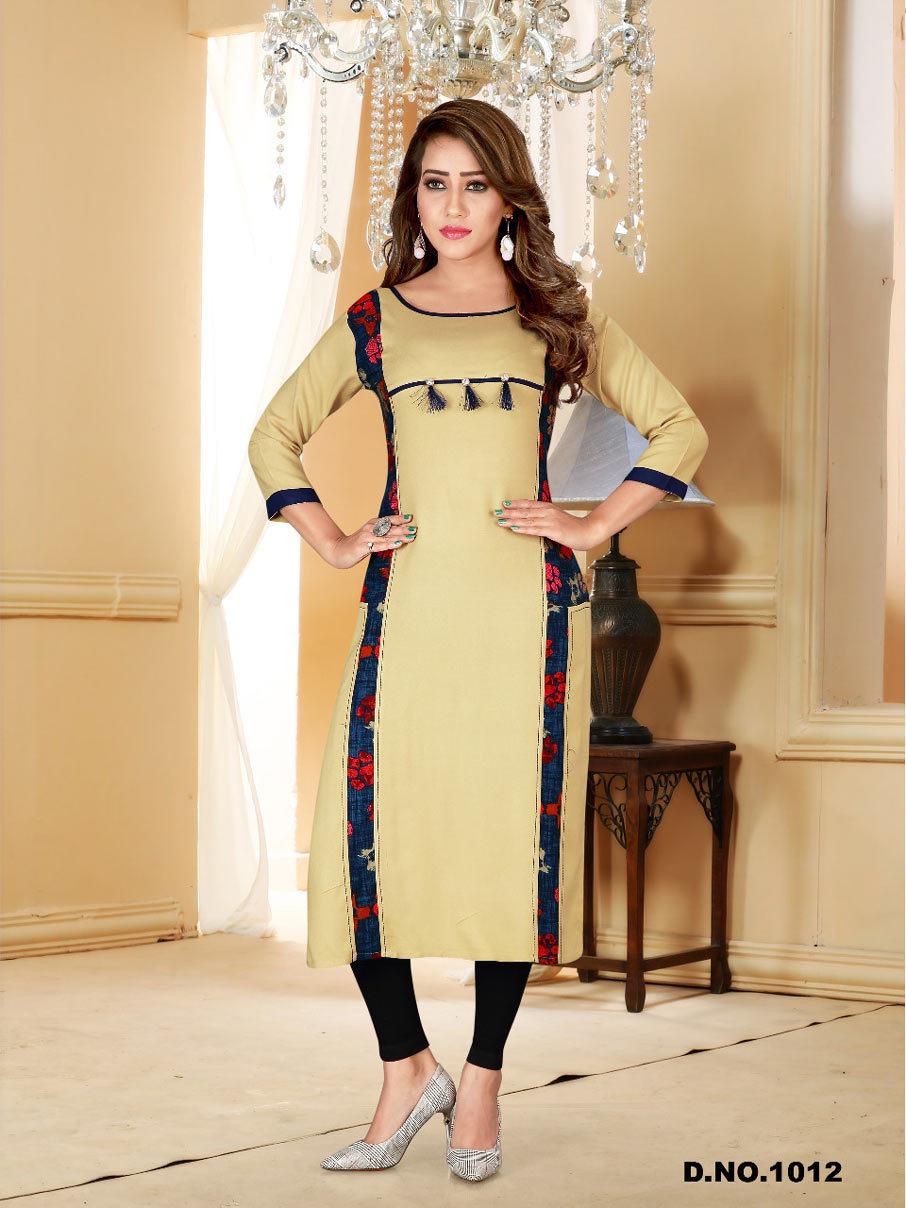 Baby Style Navya Fashion Rayon Print Plain Kurti