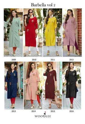 Barbella Vol-2 Rayon Embroidery Kurti Set