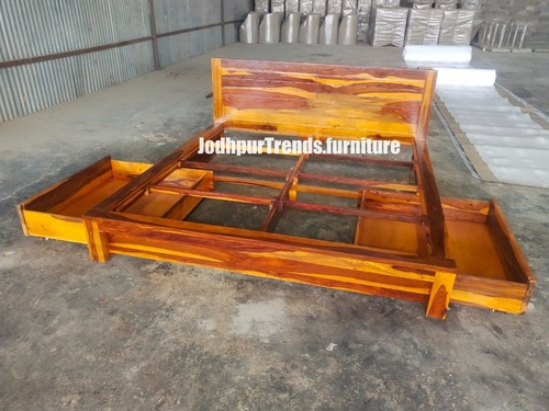 wooden bed with box