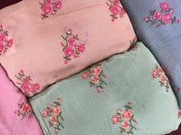 Georgette Dyed Embroidery Fabric