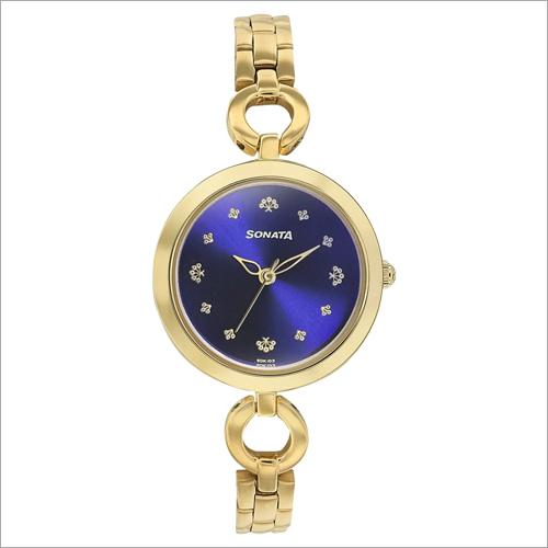 Cobalt Blue Dial Stainless Steel Strap Women Watch