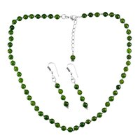 Olive Green Jade Necklace Set PG-156648