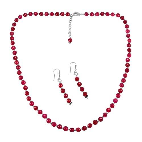 Pink Quartz Silver Necklace Set PG-156649