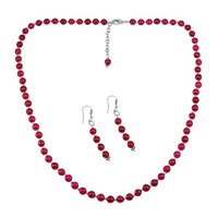 Pink Quartz Silver Necklace Set PG-156649