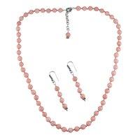 Pink Opal Silver Necklace Set PG-156651