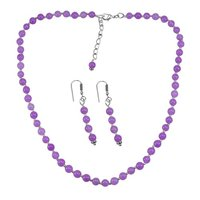 Purple Quartz Gemstone Silver Necklace Set PG-156652