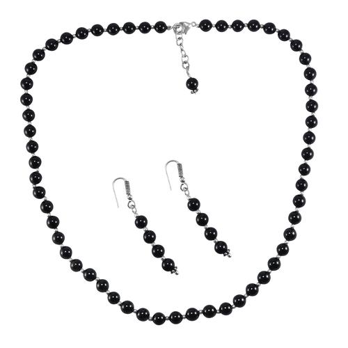 Black Onyx Stone Silver Necklace Set PG-156653