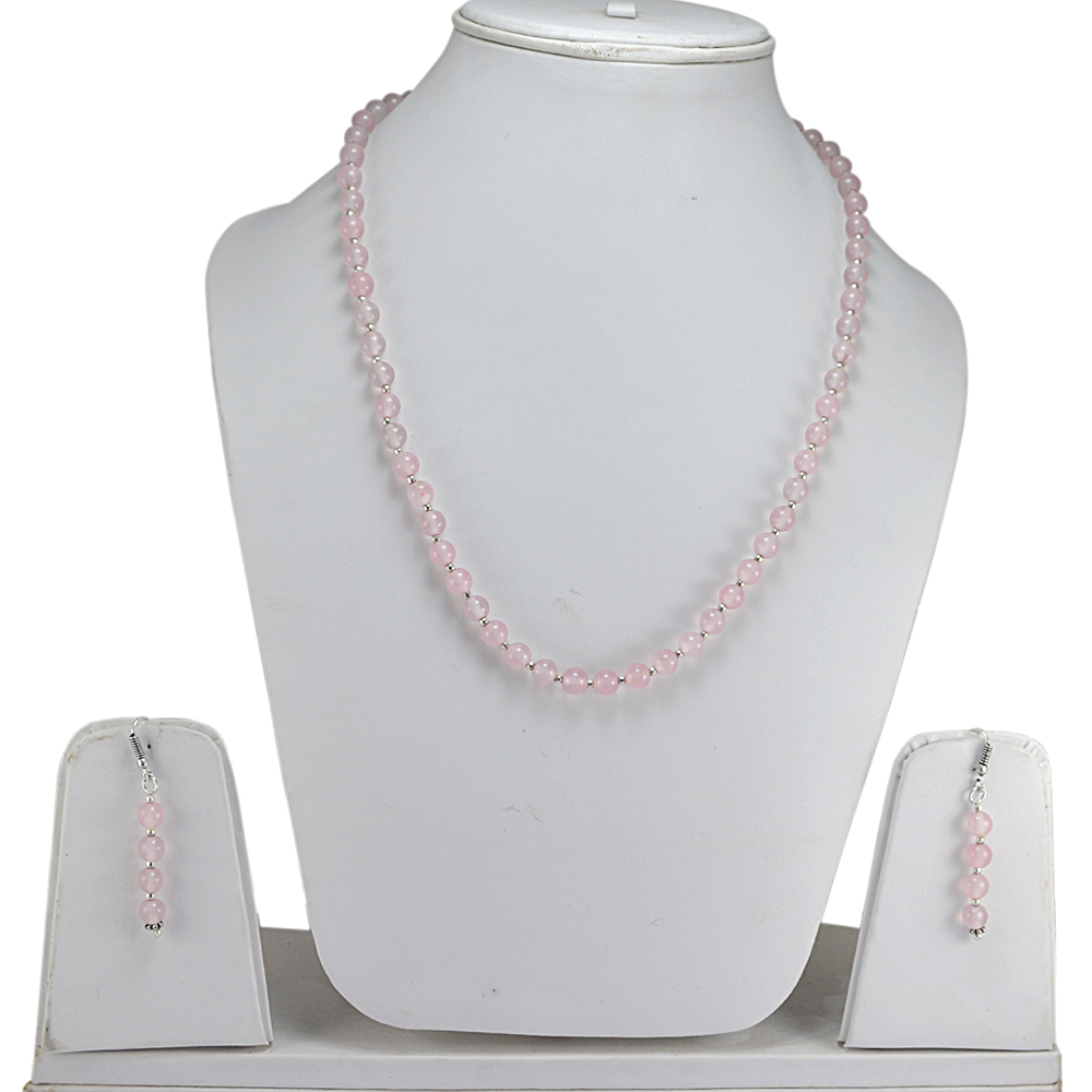Rose Quartz Stone Silver Necklace Set PG-156654