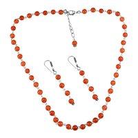 Carnelian Gemstone Silver Necklace Set PG-156655