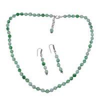 Green Quartz Stone Silver Necklace Set PG-156655