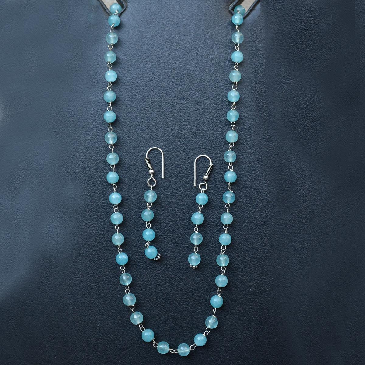 Sea Blue Quartz Silver Necklace Set PG-156658