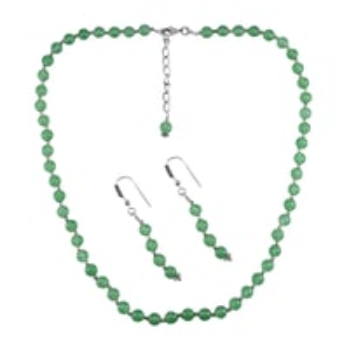 Sea Green Quartz Silver Necklace Set PG-156659