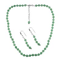 Sea Green Quartz Silver Necklace Set PG-156659
