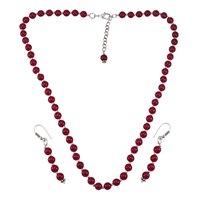 Pink Quartz Stone Silver Necklace Set PG-156660