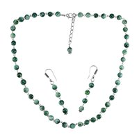 Green Quartz Stone Silver Necklace Set PG-156661
