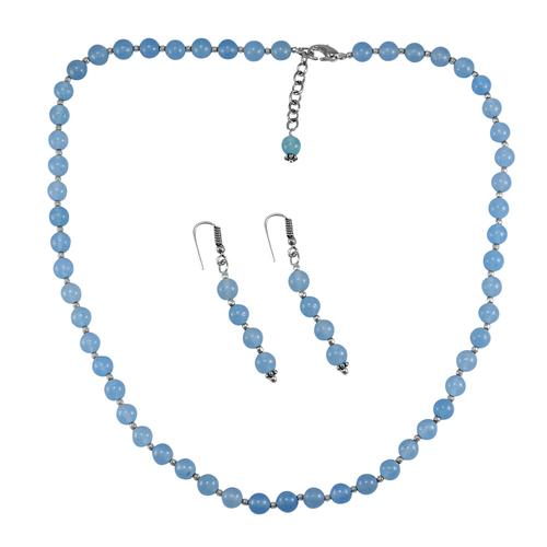 Light Blue Quartz Silver Necklace Set PG-156662