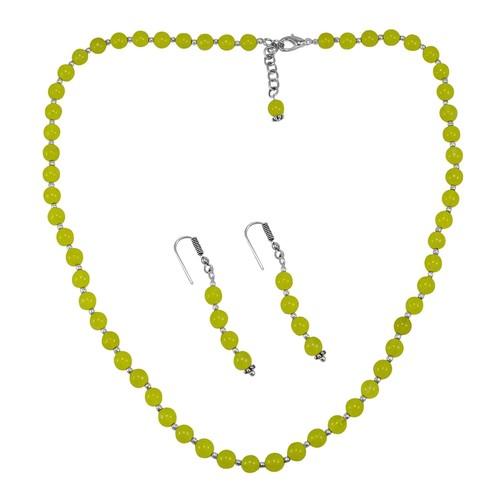 Lime Yellow Quartz Silver Necklace Set PG-156663