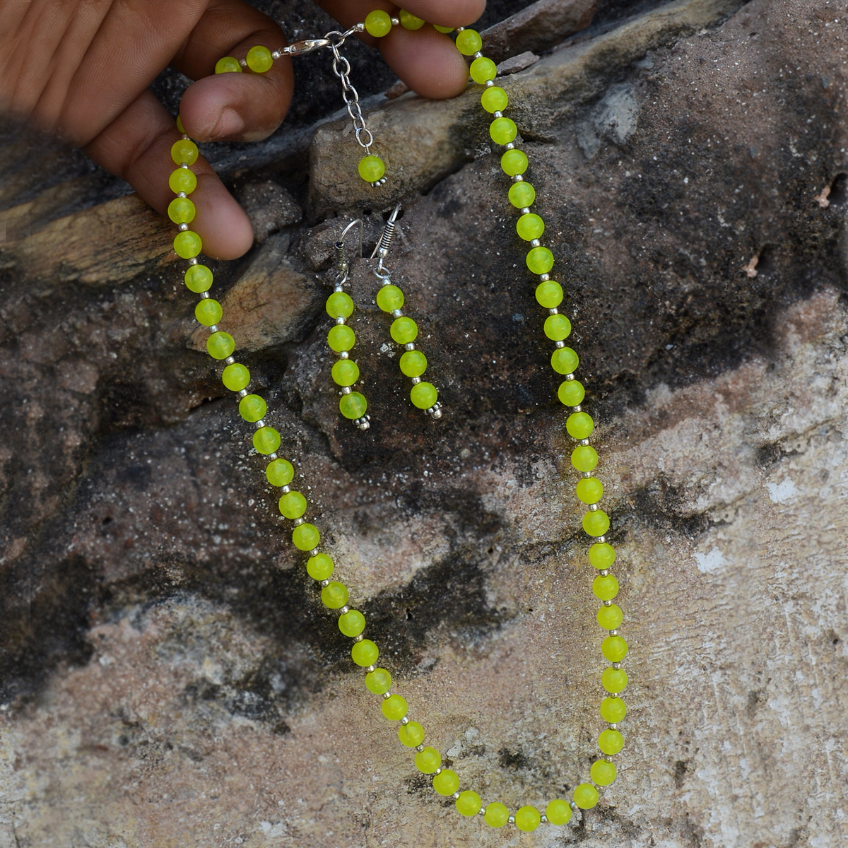 Lime Yellow Quartz Silver Necklace Set PG-156663