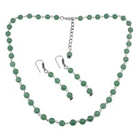 Sea Green Quartz Silver Necklace Set PG-156664