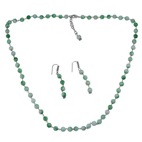 Green Quartz Stone Silver Necklace Set PG-156665