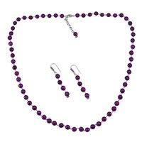 Purple Quartz Silver Necklace Set PG-156666