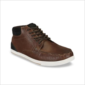 Mens PU Leather Brown Sneakers Shoes