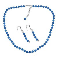Blue Quartz Stone Silver Necklace set PG-156667