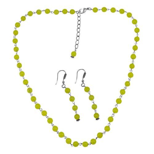 Lime Yellow Quartz Silver Necklace Set PG-156669