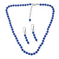 Blue Quartz Stone Silver Necklace Set PG-156670