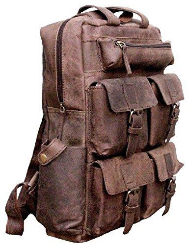 Buffalo Leather Laptop Messenger Backpack