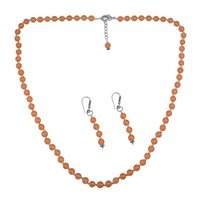 Orange Quartz Silver Necklace Set PG-156674