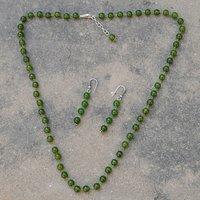 Olive Green Quartz Silver Necklace Set PG-156678