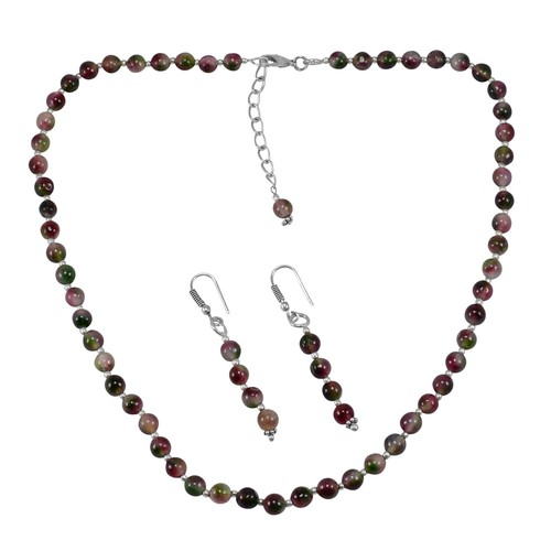 Tourmaline Quartz Silver Necklace Set PG-156679