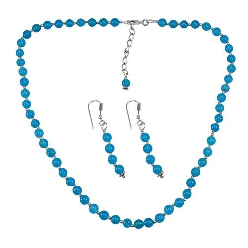 Blue Quartz Silver Necklace Set PG-156681