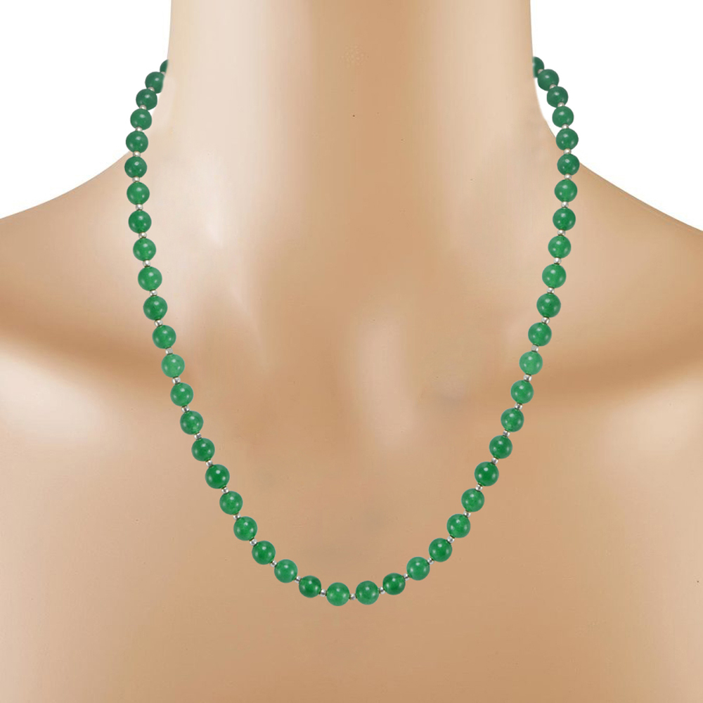 Green Quartz Silver Necklace Set PG-156682