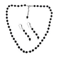 Black Quartz Silver Necklace Set PG-156685