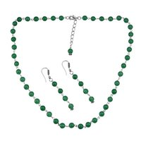 Green Quartz Silver Necklace Set PG-156686