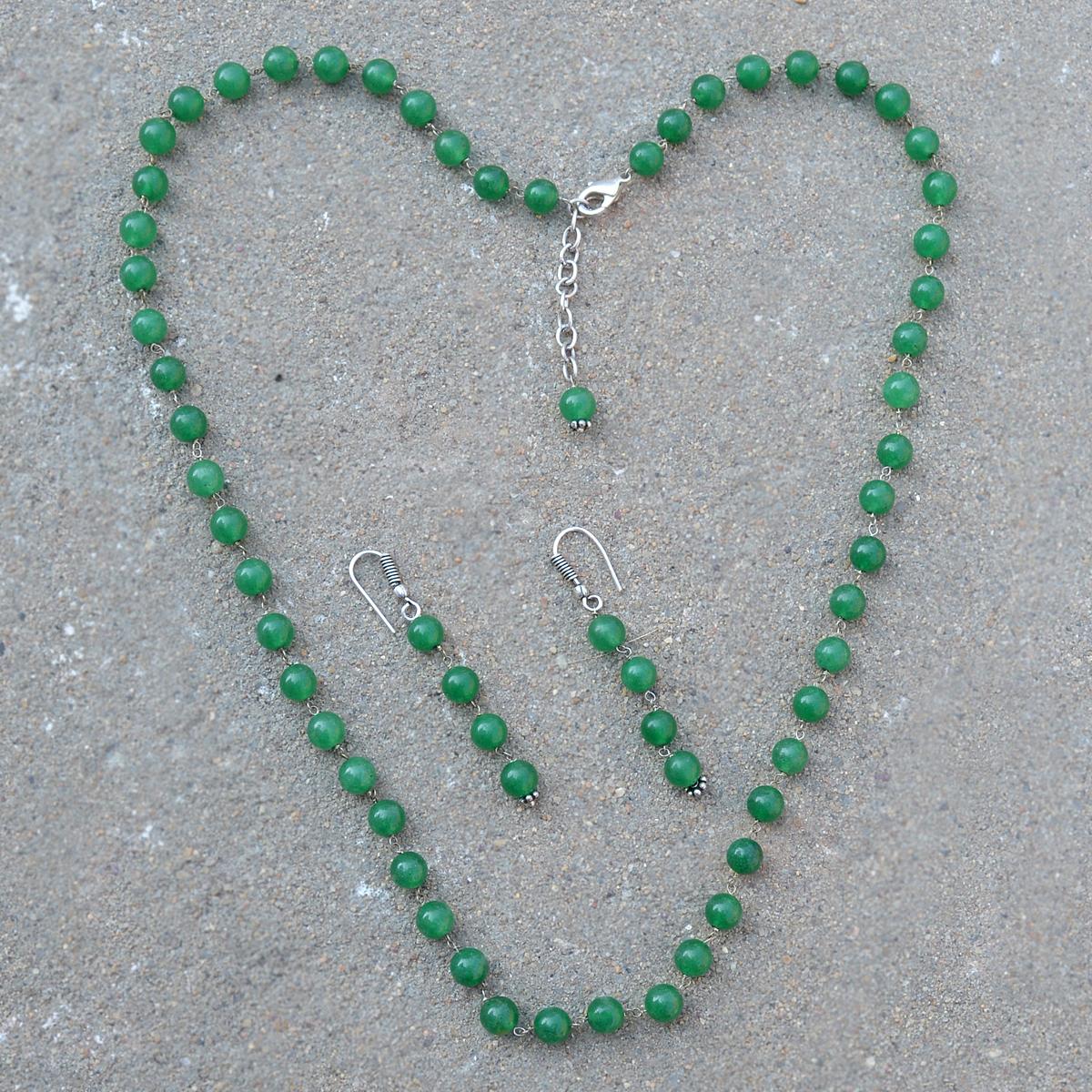 Green Quartz Silver Necklace Set PG-156686