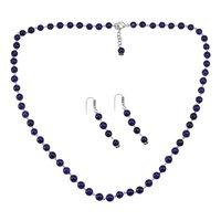 Amethyst Quartz Silver Necklace Set PG-156687