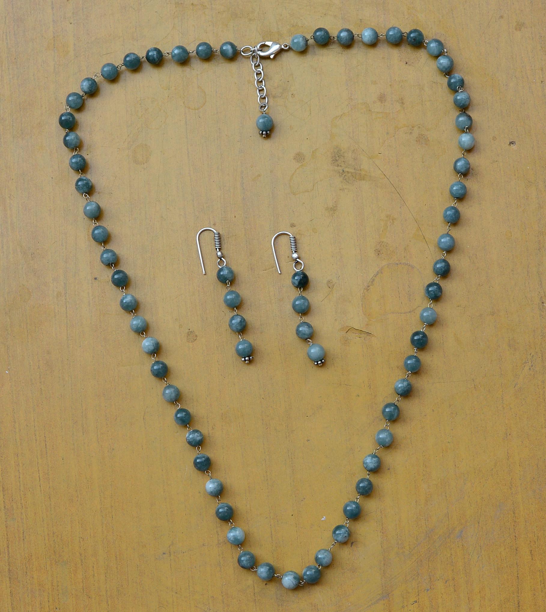Dianite Blue Quartz Silver Necklace Set PG-156688