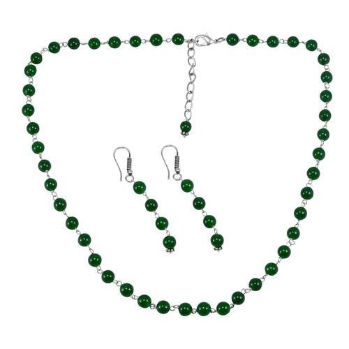 Green Quartz Silver Necklace Set PG-156692