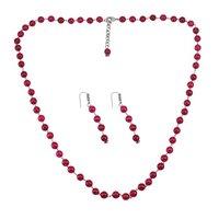 Pink Quartz Stone Silver Necklace Set PG-156695