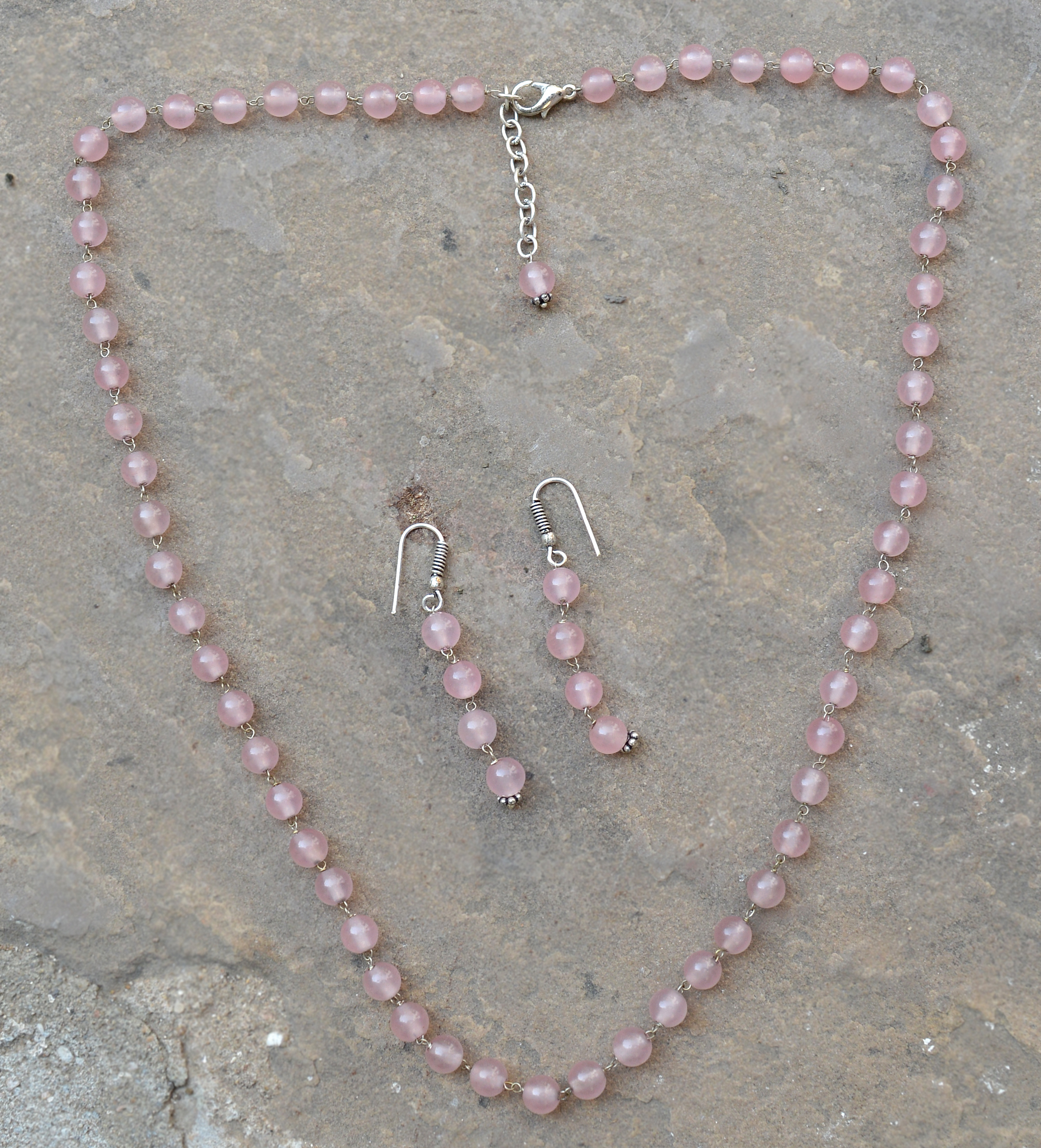 Rose Quartz Silver Necklace Set PG-156696